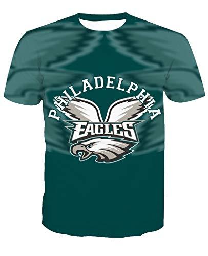 Männer 3D T-Shirt Philadelphia Eagles NFL Fußball Team Uniform Muster Digitaldruck Liebhaber Shirt(XL,Grün)