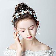 IYOU Princess Flower Headpiece Pearl Hair Dress Crystal Bridal Wedding Hair Accessories for Flower Girls (Blue)