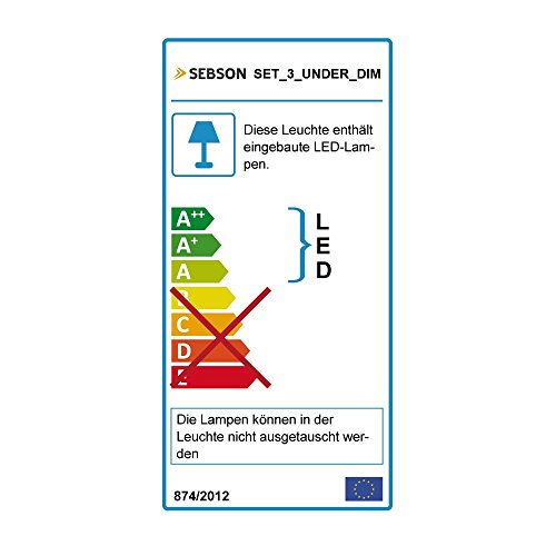 SEBSON 3x LED sottopensile luce calda, dimmerabile, 30cm, Touch, 3.5W, 250lm, 12V DC