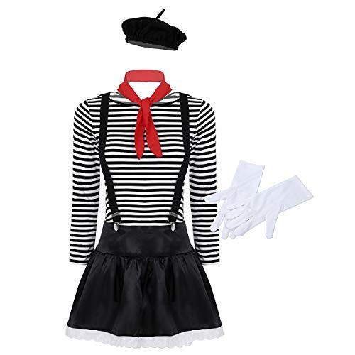 Freebily Damen Pantomime Kostüm Französisch Künstler Clown Zirkus Kostüm Outfits Shirt, Rock, Baskenmütze, Rot Schal, Hosenträger, Handschue Schwarz Medium (Künstler Paar Kostüm)