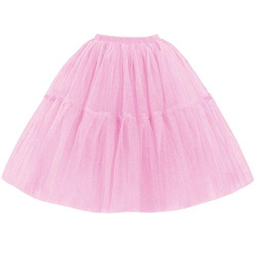 Omela Tüllrock Damen Vintage Tutu Rock Tanzrock Unterrock Petticoat Prinzessin Rock (Rosa,74-120) (Prinzessin Tutu Rosa)