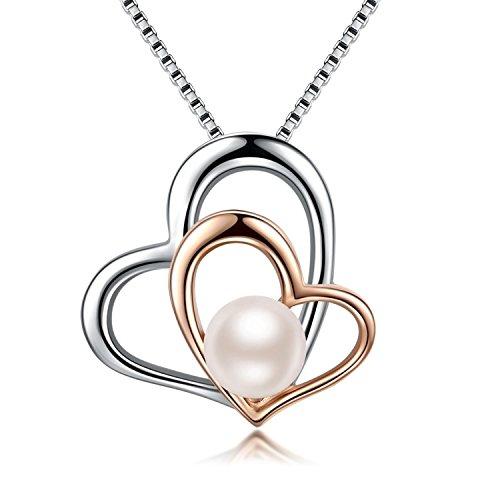 s Herz Perle Halskette Anhänger 925er Silber Zirkonia Süßwasserzuchtperle Kette Geschenk-Box Geschenk für Damen (Perle Halskette)
