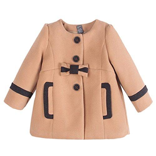 Winter Mantel Jacke Outerwear für Baby Mädchen Süße Schleife Rundkragen Warmes Innenfutter Alter 2-7 Braun