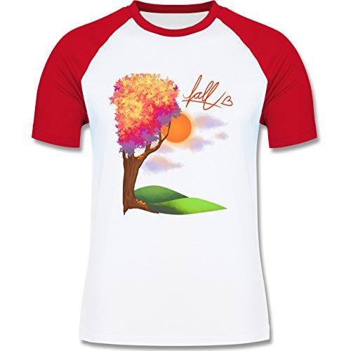 Statement Shirts - Herbst - Fall love - zweifarbiges Baseballshirt für Männer Weiß/Rot