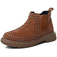 zj Ins Super Fire Botas Martin para Niños Zapatos para Niños Remaches de Cuero para Niños Botas Cortas para Niños Y Niñas, Además de Botas Martin de Terciopelo,marrón,35