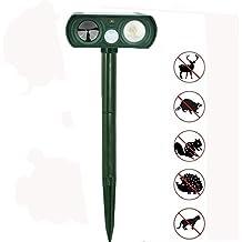 Ahuyentador De Animal De Ultrasonidos,Ahuyentador De Gatos,Ahuyentador De Pajaros, Repelente De Insectos,Protecciones Contra Insectos(Con la Estaca De Tierra)