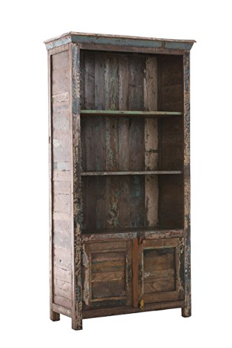 CLP Bücherschrank SIMRAM aus recyceltem Teakholz I Bauernschrank mit 3 großen Fächern und Klapptüren I Mehrfarbiger Holzschrank im Vintage-Look Bunt