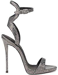21b33b4cd4c YY Sandalias De Punta Abierta para Mujer Zapatos De Piel De Serpiente  Sandalias De Cabeza Redonda De Tacón…