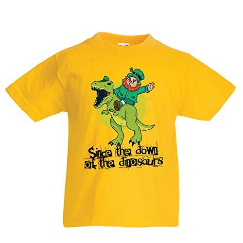 lepni.me Kinder Jungen/Mädchen T-Shirt Irisch, st. Patricks Tag - erforschen Sie die Dinosaurier (1-2 Years Gelb Mehrfarben)
