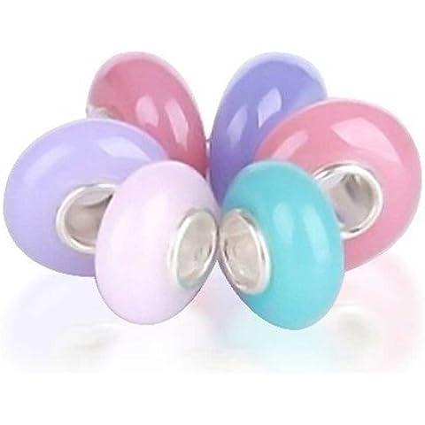 Bling Jewelry Pastello Rosa Blu Viola perle di vetro Bundle Imposta Argento