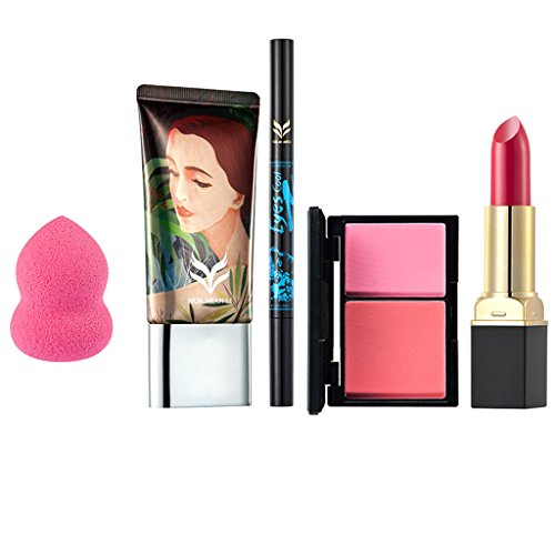 MagiDeal 5 en 1 Crème Fond de Teint Fluide + Rouge à Lèvres Waterproof + Palette de Blush 2 Couleurs + Crayon à Sourcils / Eyeliner + Puff Eponge - Kit Outils de Maquillage Cosmétiques