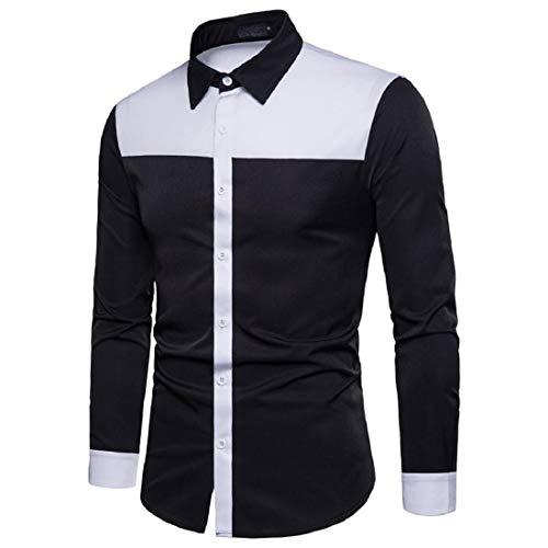 PAOLIAN Herren Langarm-Shirt Casual Slim Fit Hemden Patchwork Hemd Top Bluse Business Daily Shirt Oberteile