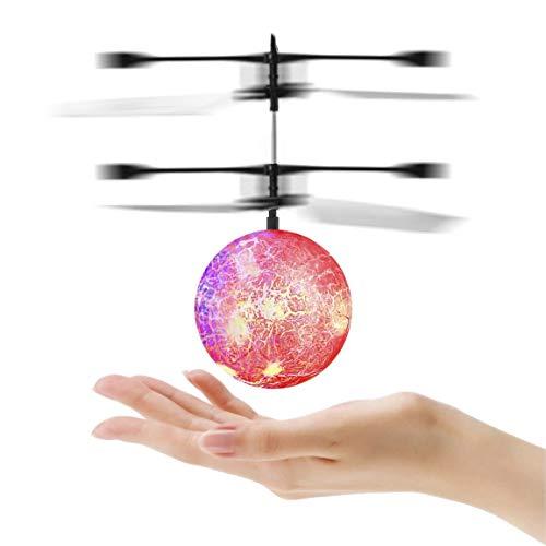 Fantasyworld Inicio automático de inducción LED Parpadeante Bola de Cristal Streamline Cuerpo Trabajo de diseño del helicóptero de RC Bola de Juguete de Regalo Divertido para los niños