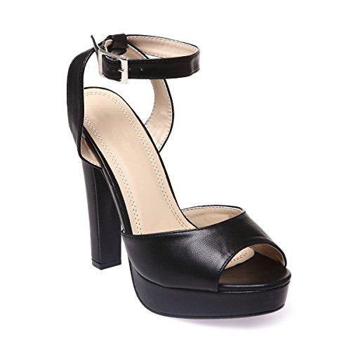 La Modeuse - Sandales en simili cuir Noir
