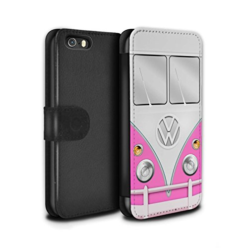 STUFF4 PU-Leder Hülle/Case/Tasche/Cover für Apple iPhone 6 / Rot Muster / VW Campingbus Kollektion Rosa