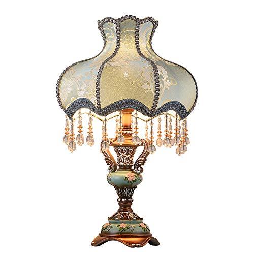 Jiesen-desk lamp Europäischen Stil Tischlampe Kreative Stoff Nachttischlampe Handgemachte Prinzessin Viktorianischen Stil Harz Lampe Körper Schreibtischlampe Verwenden E27 Birne,Button,33*H55CM -