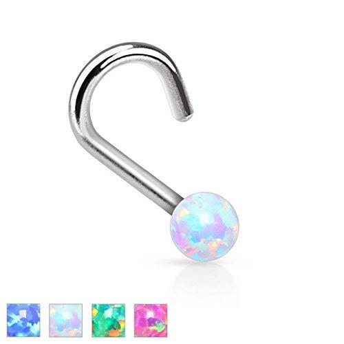 Piercing nez opale en acier chirurgical 316L Taille 0,8 mm x 6 mm x 2 mm opal Blanc