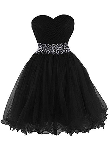 Azbro Women's Sweetheart Strapless A-line Cocktail Dress Black