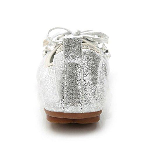 AalarDom Femme Tire Pointu Non Talon Couleur Unie Matière Souple Chaussures à Plat Argent-Pièce Décorée
