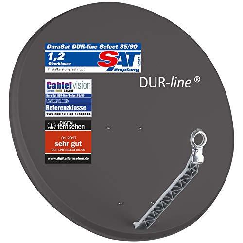 DUR-line Select 85/90cm Anthrazit Satelliten-Schüssel - 3 x Test + Sehr gut + Aluminium Sat-Spiegel