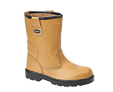 Tuffking 9050 S1P Mens Tan Fur Lined Steel Toe Cap Rigger Safety Boots Work Boot (4 UK)