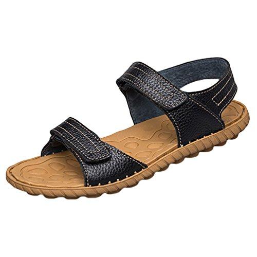 YOUJIA Herren Anti-Rutsch PU-Leder Sandalen Flexible Leicht Outdoor Flache Schuhe Schwarz