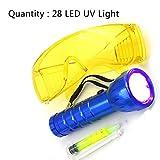 332pageAnn Auto Klimaanlage Leak Taschenlampe,Auto R134A R12 28 LED UV Taschenlampe Schutzbrille UV-Dye-Tool Set Automotive Klimaanlage Repair Tool