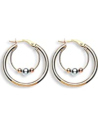 9carat Yellow Gold 20mm Flat Twisted Round Hoop Earrings Weight 1.3G Hallmarked