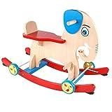 Schaukelpferd Massivholz,mit Räder Für 1-4 Baby Reiten Auf Spielzeug Rocker Rocker Toy Zusammenbauen Gleichgewichtstraining