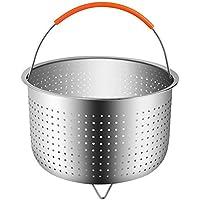 Starter Cestillo multiusos de acero inoxidable para una cocina al vapor - Cesta de vapor para 6 u 8 cuartos de galón de olla instantánea a presión de olla, resistente inserto de vapor de acero inoxidable con manija de silicona cubierto, ideal para cocinar verduras al vapor Frutas Huevos