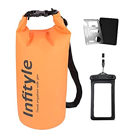 Waterproof Dry Bags - Floating Compression Stuff Sacks Gear Backpacks for Kayaking Camping - Bundled with Phone Case and Pocket Tool (Orange,
