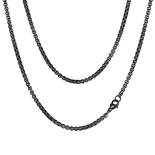 FaithHeart Steampunk 3mm Poliert Curb Kubanischen Schwarz Edelstahl Herren Damen Ketten Halskette 22 Zoll (Halskette 22 Zoll)