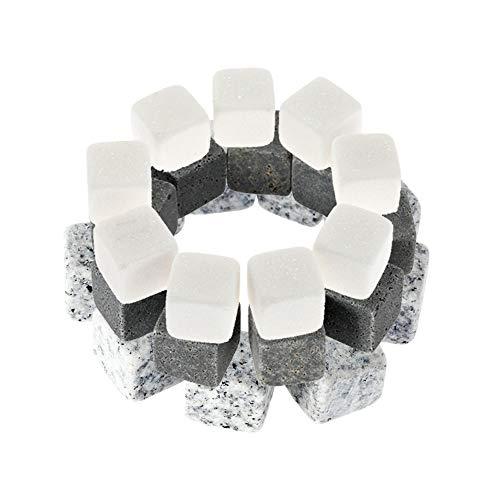 Casavidas 9 Stück 18 mm Whisky Steine Eiskühler in 3 Farben Getränkekühler Würfel Bier Rocks Granit mit Tasche Weinkühler Whisky Steine: Dunkelgrau