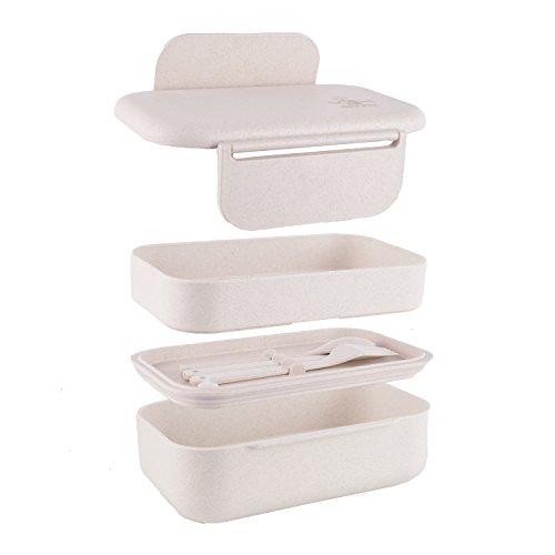 Green World Production – Lunchbox mit Fächern ohne Plastik – BPA freie Brotdose für Kinder & Erwachsene – Bento Box 1,2 l –18,6 x 12,3 x 9,7 cm