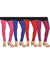 CAY 100% Cotton Combo of Baby Pink, Blue, Dark Pink, and Red Color Plain, Stylish & Most Comfortable Leggings For Girls & Women with Full Length (SIZE : Free Size)