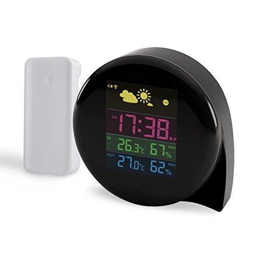 Wetterstation mit Funkuhr, JANDRUN Funkwetterstation Digital mit Außensensor, LCD Farbdisplay,DCF-Signal Weckfunktion (Wecker), Innen- und Außen Temperaturanzeige Luftfeuchtigkeitsan zeige