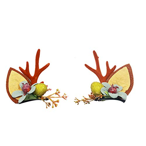 Christmas Hairpin Cute Cat Ear Hair Clamp with Branch Hairpin Gifts for Women Christmas Decoration 1 Pair