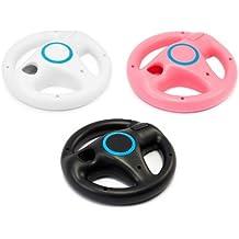 3x Lenkrad Racing Wheel für Nintendo Wii - Rosa, Schwarz, Weiss