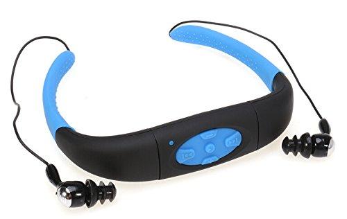 IPX8 wasserdichter MP3 Musik Player Kopfhörer 8GB Speicher Sporting Kopfhörer mit FM-Radio und Akku für Schwimmen Tauchen Surfen Laufen und andere Outdoor-Aktivitäten (Blau&Schwarz)
