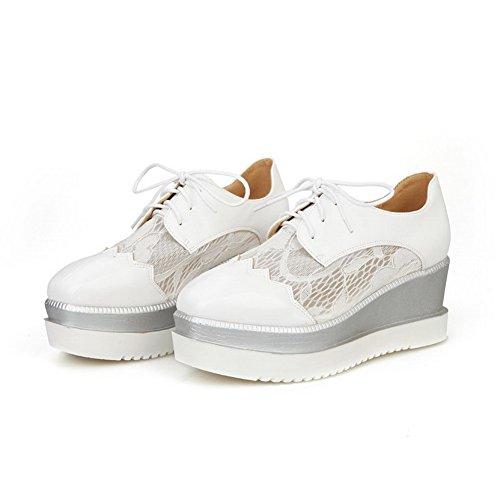 AllhqFashion Damen Quadratisch Zehe Blend-Materialien Rein Schnüren Pumps Schuhe Weiß