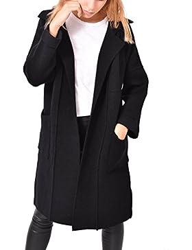 Cappotto Nero Cardigan Lungo Aperto Tasche Abbigliamento Moda Donna