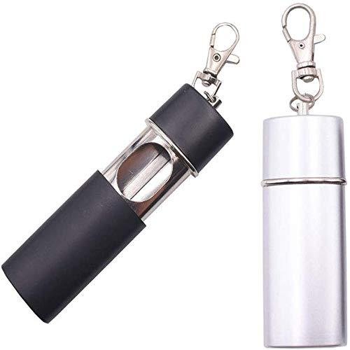 Taschenaschenbecher,2 Stück Metall Schwarz Silber Mini Zigaretten Aschenbecher, Outdoor-Reisen Karabiner Tragbaren Zigarettenaschenbecher