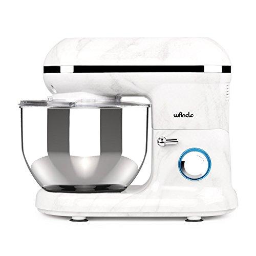 Küchenmaschine Knetmaschine Food Processor Wancle Stand Mixer 1260w, mit 5.5 Liter Edelstahlschüssel, Spritzschutz, Rührbesen, Knethaken und Ballon-Schneebesen (Marmor)