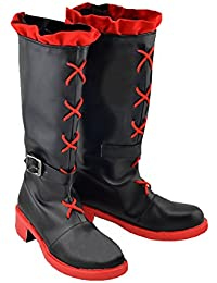 Anime Shoes Red Black Leather Boots Cosplay Costume Accessories for Adults Halloween Fancy Dress