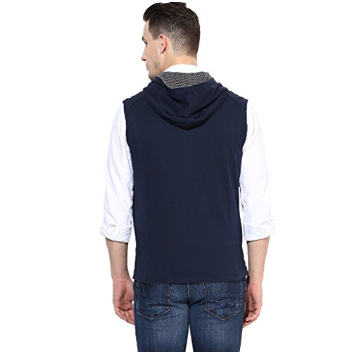 Turtle Men's Navy Blue Reversible Sleeveless Hoodie With Structured Stripes