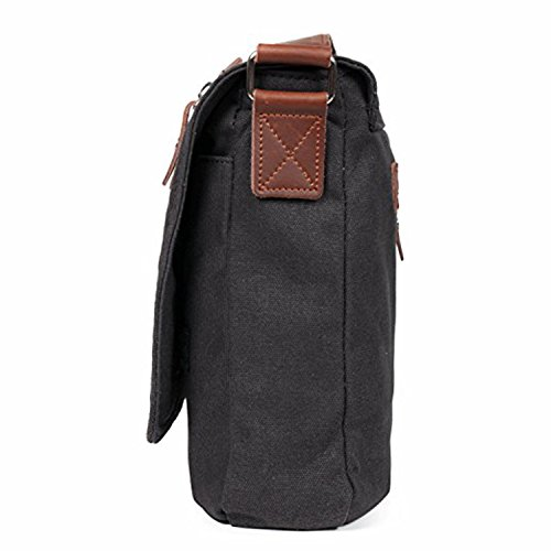 Bold Manner Umhängetasche Elegant Vintage Crossbody Messenger Bag Canvas Business Sport Freizeit Tasche Uni Design 3 Farben Schwarz