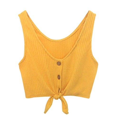 466108e3370526 Kobay Women Tank Tops, Ladies' Sleeveless Button Bandage Casual Vest Tops  Blouse