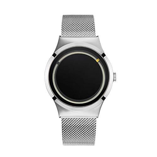 Armbanduhren,Konzept Fluoreszierende Mode Hipster Casual Männer wasserdichte Quarzuhr Silbergürtel Silberring Schwarzes Gesicht