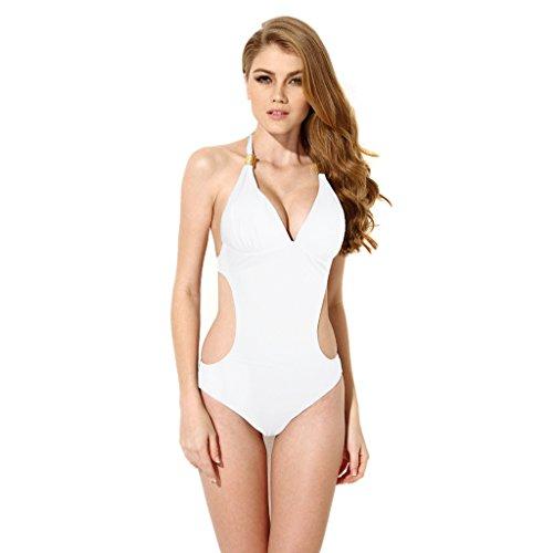 Colloyes Donna Costume Interi Costumi da Bagno Taglie Forti Monokini One Piece Swimsuit S to XXL Colore Bianco Taglia L