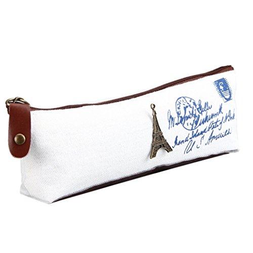 Fami Vintage Nostalgique Canvas Bag Stationery,Blanc